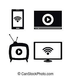 tv, viver, fluxo