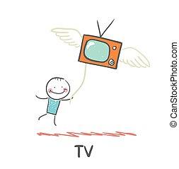 tv, voando, homem