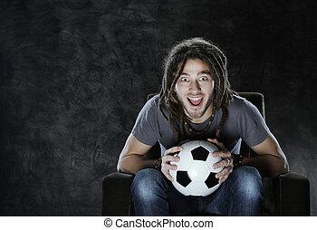 tv, voetbal, schouwend