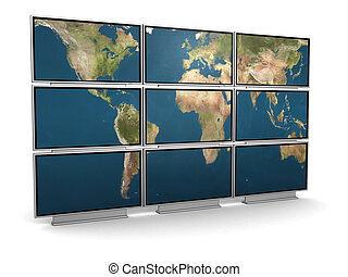 tv wall - 3d illustration of tv wall with world map on it