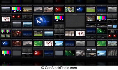 TV wall_051 - Infinite loop virtual studio background.