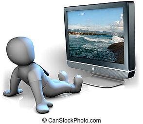 A man watching a big TV