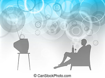 tv watching - tv watchnig on the abstract background