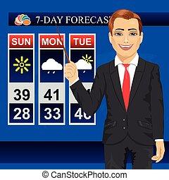 TV weather news reporter meteorologist anchorman reporting...