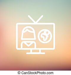TV weather reporter thin line icon