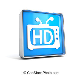 TV - web button isolated on white background