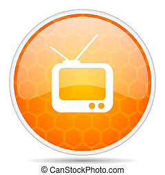 Tv web icon. Round orange glossy internet button for webdesign.