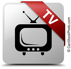 TV white square button red ribbon in corner