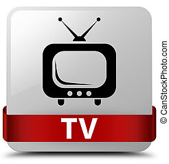 TV white square button red ribbon in middle