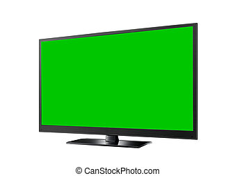 TV with green flat wide screen isolated on white