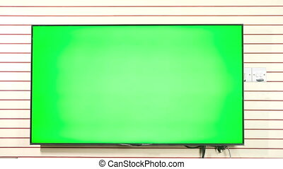 TV with Horizontal Green Screen Mock Up