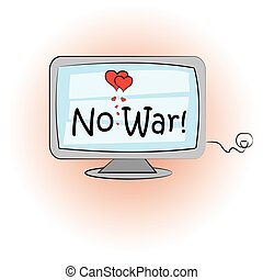 """TV with hearts and the words """"No War"""""""