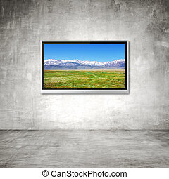 TV with mountain