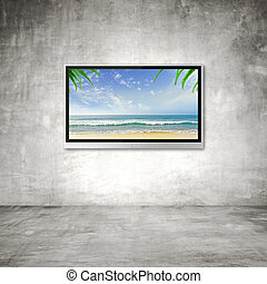 TV with ocean - wide screen TV with ocean background concept
