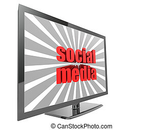 TV with social media word