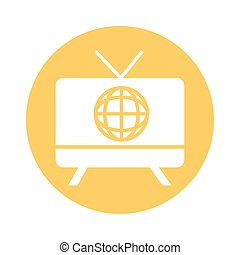 tv with sphere browser line style
