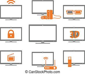 tv, witte , vrijstaand, verzameling