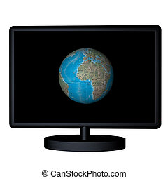 Tv World - 3D render of a tv, with world on screen
