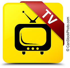TV yellow square button red ribbon in corner