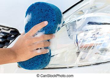 tvagning, bil, uppe, hand, snylta, nära, användande