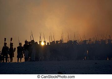 tvarozna, svk, république, silhouettes, bataille, austerlitz, guerrier, depo, tchèque