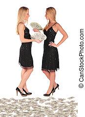 tvilling flickor, dollars, holdingen