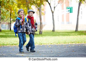 tvilling, schoolkids