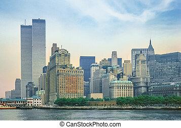 tvilling- står hög, new york
