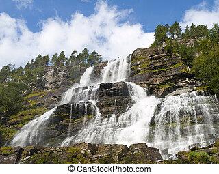 tvindefossen, cascada, noruega