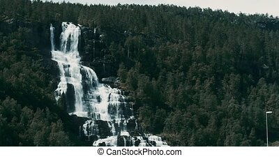 Tvindefossen Waterfall, Norway - Graded and stabilized...