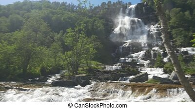 Tvindefossen Waterfall, Norway - Native Material, straight...