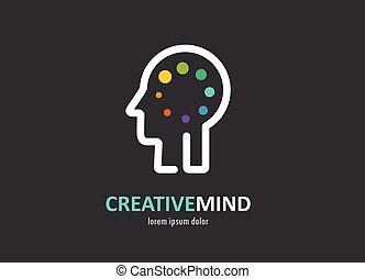 tvořivý, digitální, abstraktní, barvitý, ikona, o, lidská bytost mozeček, duch, znak
