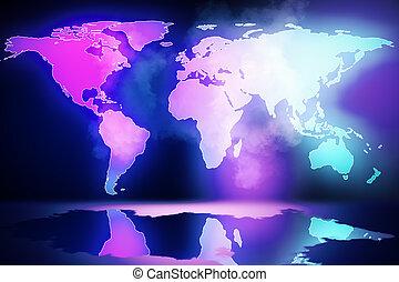 tvořivý, mapa světa, nadšený
