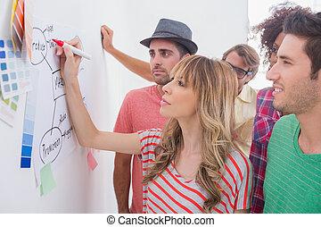 tvořivý, mužstvo, dívaní, coworker, dodat, do, vývojový diagram