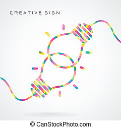 tvořivý, nečetný baňka, pojem, pojem, grafické pozadí,...