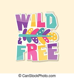 tvořivý, text, divoký, svobodný, šikovný, nálepka, do, blýskavý barva, móda, příštipek, vektor, ilustrace, karikatura, móda