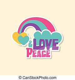 tvořivý, text, láska, mír, s, duha, a, mračno, šikovný, nálepka, do, blýskavý barva, móda, příštipek, vektor, ilustrace, karikatura, móda