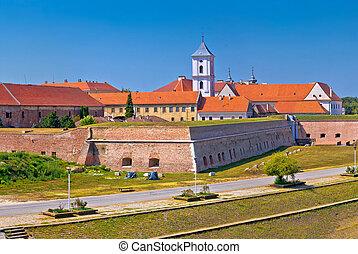 Tvrdja old town walls and Drava river walkway in Osijek...
