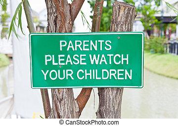 twój, dogadzać, pilnowanie, znak, rodzice, deska, dzieci