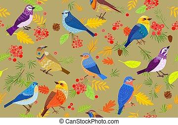 twój, las, próbka, seamless, jesień, ptaszki, projektować