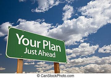 twój, plan, zielony, droga znaczą
