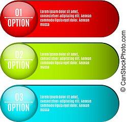 twój, sieć, etykiety, sliders., illustration., handlowy, handel, nowoczesny, text., trzy, style., realistyczny, infographics., wektor, selection., wielobarwny, opcje, projektowanie, design.