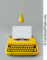 twórczość, maszyna do pisania, rocznik wina, idea, nowy