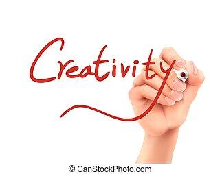 twórczość, napise słowo, ręka