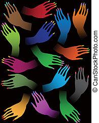 twórczy, barwny, samicze ręki, na, czarne tło