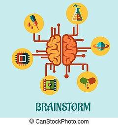 twórczy, brainstorming, płaski, pojęcie, projektować
