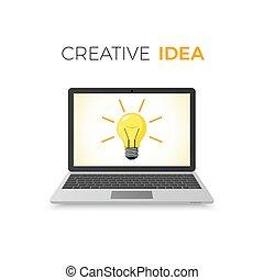 twórczy, idea, concept., handlowy, solution., lampa, na, laptop, screen., wektor, ilustracja, odizolowany, na białym, tło