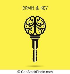 twórczy, mózg, znak, z, klucz, symbol., klucz, od, success.,...