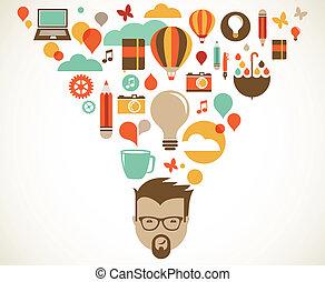 twórczy, pojęcie, projektować, idea, innowacja