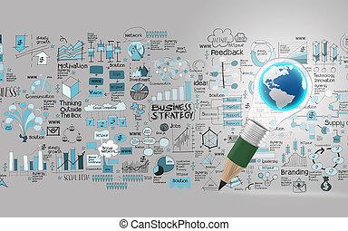 twórczy, projektować, handlowy, jak, ołówek, lightbulb, świat, 3d, jak, handlowy, projektować, pojęcie
